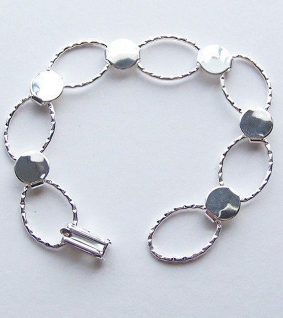 Silver Plated Hammered Oval Bracelet Form for Crafting and Embellishing 7.25 inches