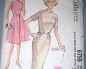 McCalls 6759 Misses Dress with Slim or Full Skirt 16 B36