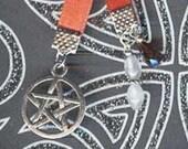 Pentagram Pentacle Jeweled Silver Paperback Pagan Wiccan Bookmark Red Ribbon