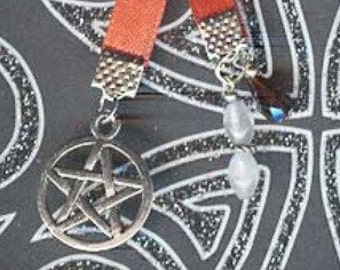 Pentagram Pentacle Jeweled Silver Paperback Pagan Wiccan Bookmark Red Ribbon