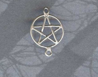 Pentagram Pentacle Wiccan Jewelry Component LINK Finding Sterling  P79-1