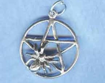 Sterling Silver SPIDER PENTACLE PENTAGRAM Witch Jewelry