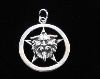 Sterling Silver Gargoyle Pentacle Pentagram Wiccan Jewelry P111