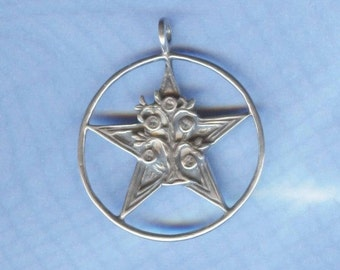Sterling Silver Prosperity Pentagram Pentacle Wicca Witch Jewelry