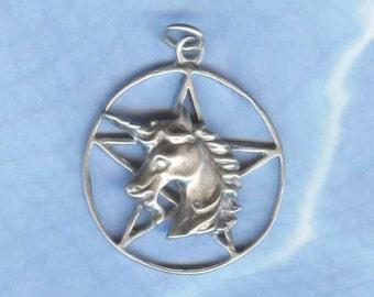 Sterling Silver UNICORN Pentacle Pentagram Wiccan Jewelry