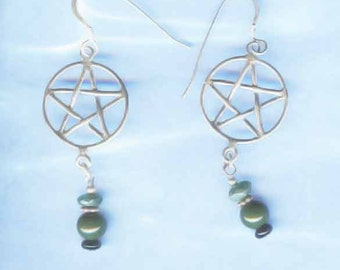 Green Witch Jewelry Pentagram Pentacle Long Earrings Sterling Silver and Gemstones FREE SHIPPING -Pn-Er010