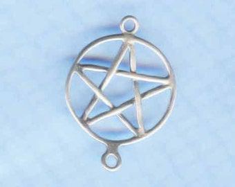 Sterling Silver Pentacle Pentagram Link Wicca Jewelry Finding P44-1/A