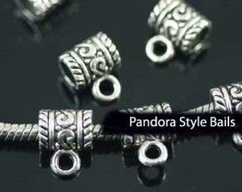 Large Hole Bail Beads Charm Holders fit All European, Add a Bead Jewelry, lot of 3 Pwc-Bl010