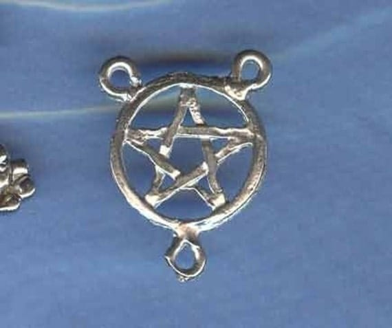 Silver Pentacle Y Centerpiece Wicca Pagan Jewelry Finding PW-PY
