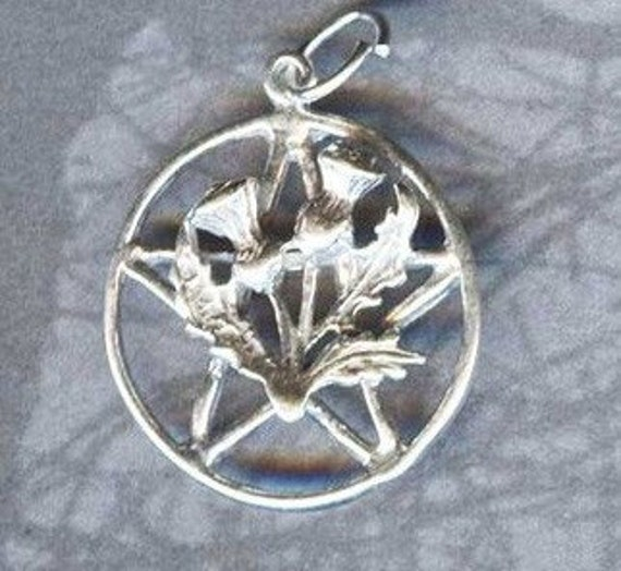 Sterling Silver Scottish THISTLE Pentacle Pentagram Scottish Witchcraft P101