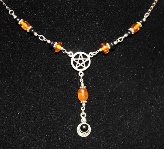 Witch Rosary Necklace Sterling Amber Jet & Blk Onyx Handcrafted   PntNk023