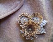 quilled and coiled paper flower brooch - with old text
