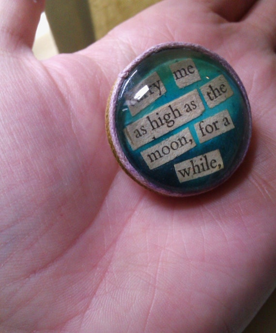 cute glass brooch - made from old romance novel
