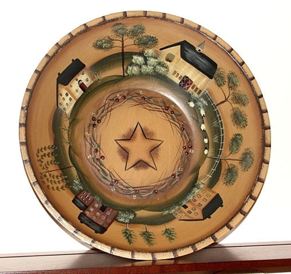 Folk Art  Wooden Bowl With Country Houses and Sheep