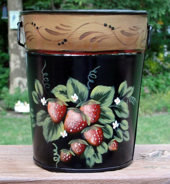 Hand Painted Metal Strawberry Basket and Planter