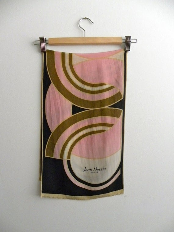 Vintage Silk Jean Desses Paris Long Rectangle Scarf
