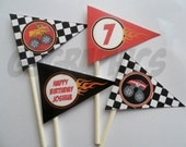 Printable custom flag cupcake toppers- Monster truck