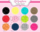 Scallop Circles digital clip art- 12 piece set  Personal and Commercial Use