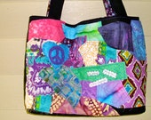 Handmade Market Tote Bag - Bohemian Fabric Collage with Positive Mantras