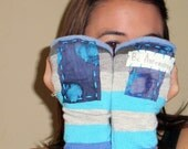 Be Awesome Blue and Grey Striped Upcycled Fingerless Gloves