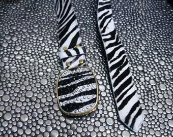 SALE - Belt handmade zebra print calf hair