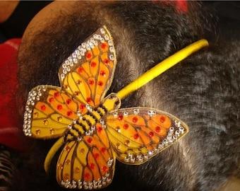 Leather/rhinestone Monarch butterfly headband