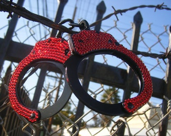 Red on Black Real handcuffs rhinestoned