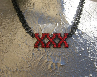 When your fun and you know it.. XXX necklace Red Blacklinkchain