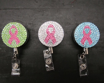 Breast Cancer Ribbon rhinestone ID badge reels