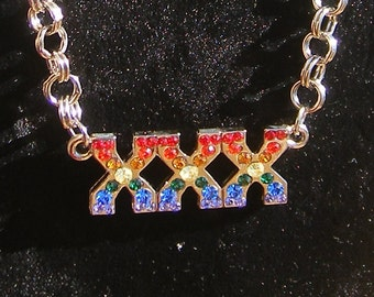 RAINBOW BRITE XXX necklace, you know who you are disco darlin