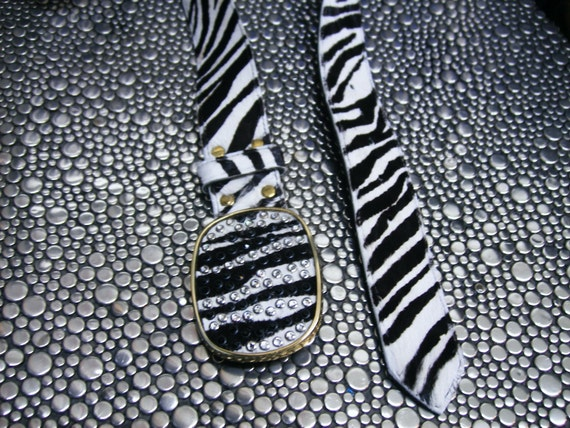 SALE - Belt handmade zebra print calf hair