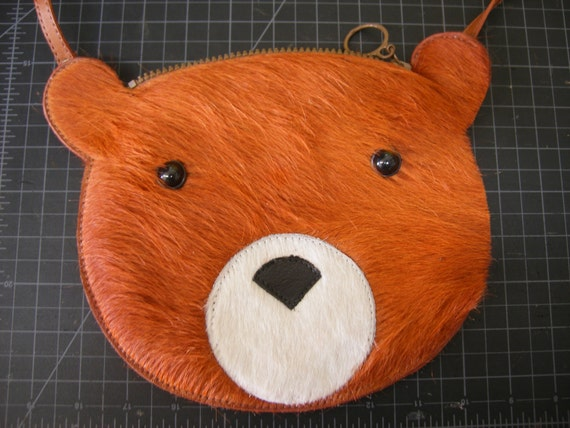 Grrr.... Rust fur Bear cross body purse.