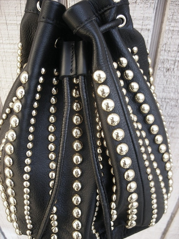 Bell bag draw string purse in black leather and silver studs