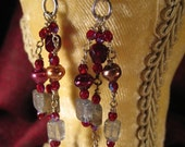 Iridescent Labradorite and Red Glass Chandelier Earrings