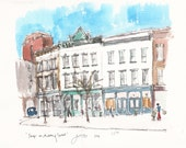 Shops on Meeting Street, Charleston. Print from an original watercolour.