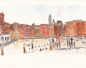 Piazza del Campo, Siena - Original Watercolor Painting
