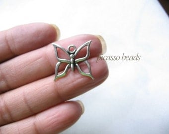 6pcs Antique Silver Butterfly Charms Findings great for necklace, pendants, charm bracelets and diy charms crafts
