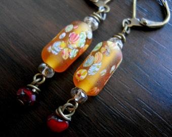Vintage Japanese Honey Millefiori Cranberry Czech Glass Bead Earrings