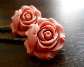 40% OFF SALE! - Vintage Style Matte Pink Rose Bobby Pins