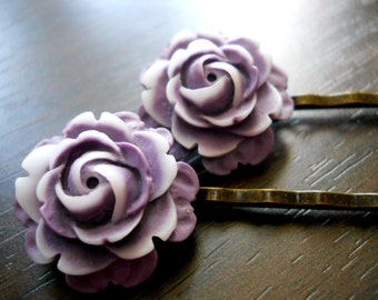 40% OFF SALE! PURPLERAIN- Purple and White 2 Tone Rose Bobby Pins