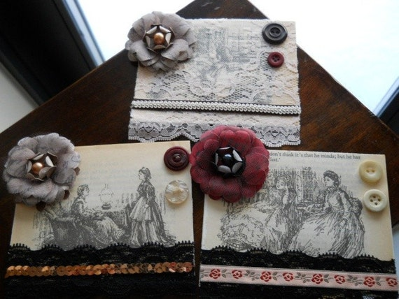 Vintage Inspired Victorian Lace Button Notecards
