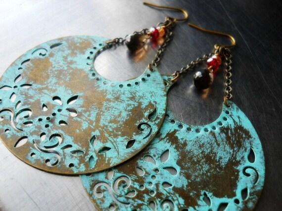 BOHEMIAN RHAPSODY- Verdigris Crescent Moon with Smoky Quartz Dangle Earrings