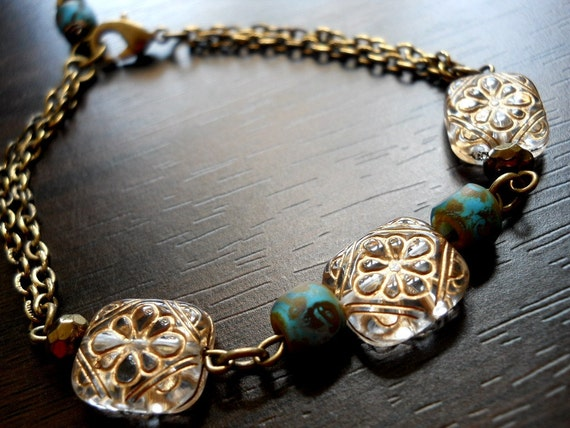 PROVINCIAL-Gold Etched Floral Tabs with Matte Glass Seed Beads and Vintage Antiqued Gold Plated Cable Chain Bracelet