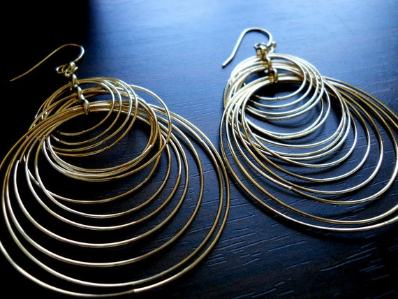 RIPPLE'S GOLD-  Highly Polished Multiple Linked Hoop Gold Filled Earrings