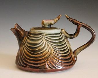 Desert Rose Teapot Hand Carved Porcelain Teapot, Ceramic Teapot, ceramics and pottery, pottery teapot, wheel thrown teapot