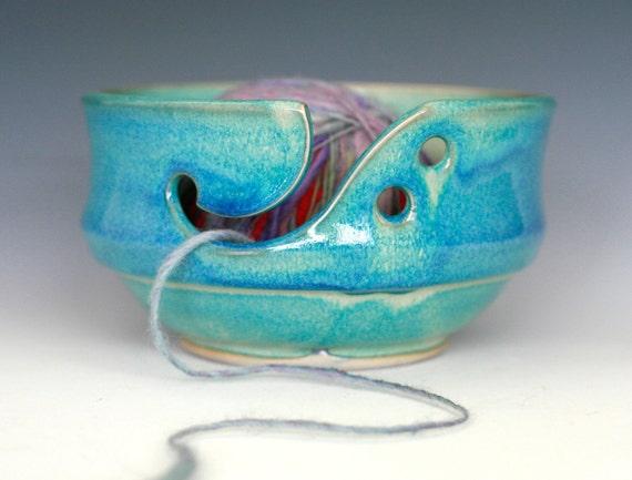 "Yarn Bowl, handmade stoneware pottery,handmade ceramic yarn bowl, 6.50"" wide 3.25"" tall, Ready to Ship"