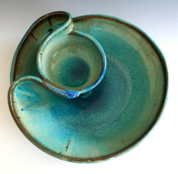 Chip and Dip, handmade ceramic dish