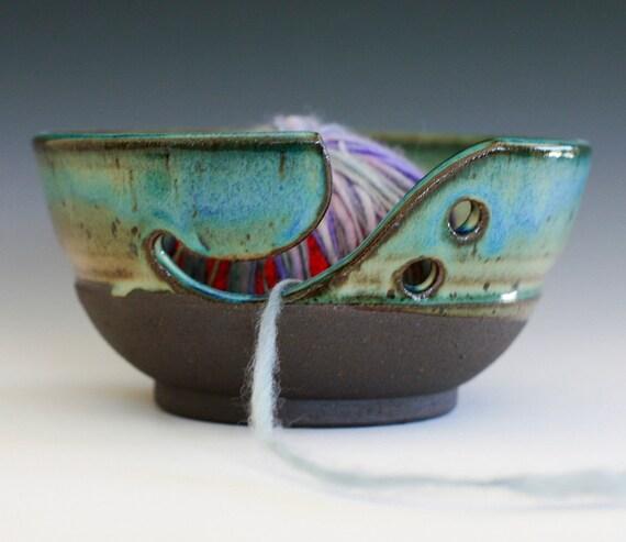 "Yarn Bowl, handmade stoneware pottery,handmade ceramic yarn bowl, 7"" wide 3.5"" tall, READY TO SHIP"