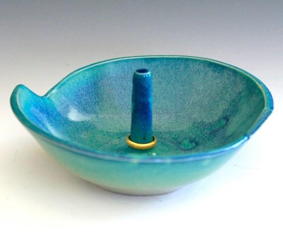 Turquoise Ring Holder, handmade ceramic ring holder