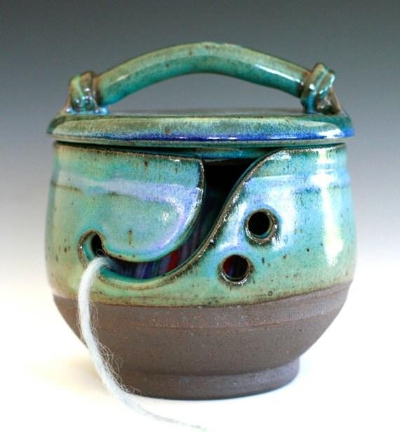 Kitty-Proof Yarn Bowl -- handmade ceramic yarn bowl, In stock Ready to Ship